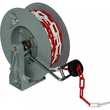 Enrouleur de signalisation chaîne rouge/blanche 20m