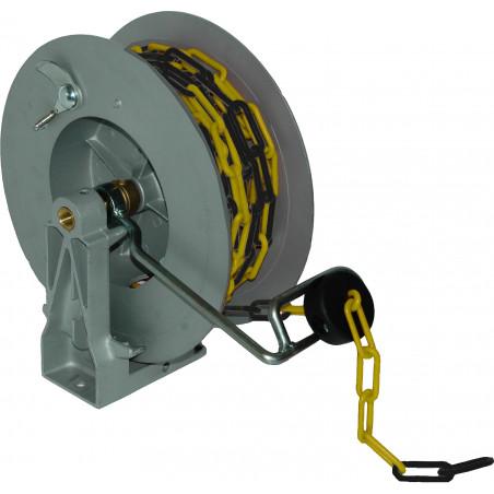 Enrouleur de signalisation chaîne jaune/noire 20m